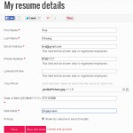 Step 2.1. Key in your Contact information, your can set the privacy to hide your resume here so employer won't be able to see it (Not Recommended).